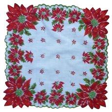 Very Pretty Poinsettias Christmas Handkerchief