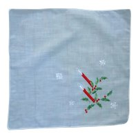 Candles Holly and Snowflakes Christmas Handkerchief