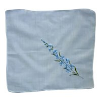 Blue Delphinium Embroidered Linen Handkerchief