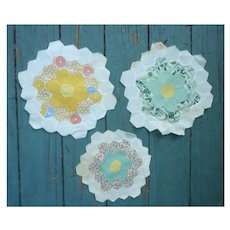 Three Vintage Quilt Blocks For Crafting
