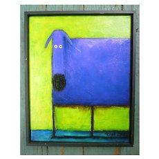 Daniel Patrick Kessler Blue Dog Giclee Print on Canvas Framed