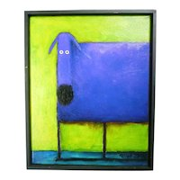 Daniel Patrick Kessler Blue Dog Giclee Print on Canvas Framed