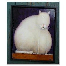 Daniel Patrick Kessler Fat White Cat Giclee Print on Canvas Framed
