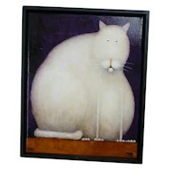 Daniel Patrick Kessler Fat White Cat Giclee Print on Canvas Framed