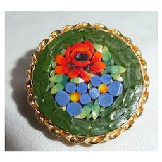 Millefiore Mosaic Flower Brooch
