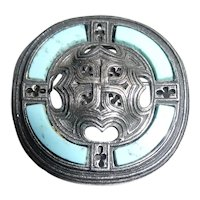 Miracle Scottish Celtic Brooch with Light Blue Bands