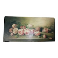 Glossy Pink Cottage Roses Print on Stretched Canvas