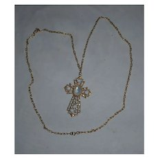 Large Goldtone Cross Pendant with Opalite Cabochons on Long Chain