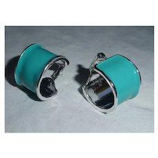Bold Blue Enamel on Silvertone Hoops Clip Earrings