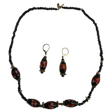 Black Orange and Goldtone Lampwork Glass Beads Necklace and Earrings Set