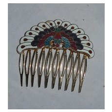 Enamel Peacock Mantilla Hair Comb
