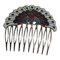 Enamel Peacock Mantilla Hair Comb