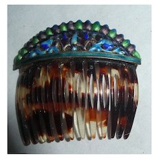 Colorful Enamel and Faux Tortoise Shell Tines Mantilla Hair Comb