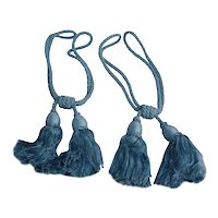Heavy Corded Blue Tassel Drapery Tiebacks