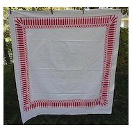 Red and White Tassel  Print Border Vintage 40's 50's Tablecloth