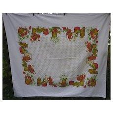 Flowers Fruits Vegetables Border Print 50's Large Tablecloth
