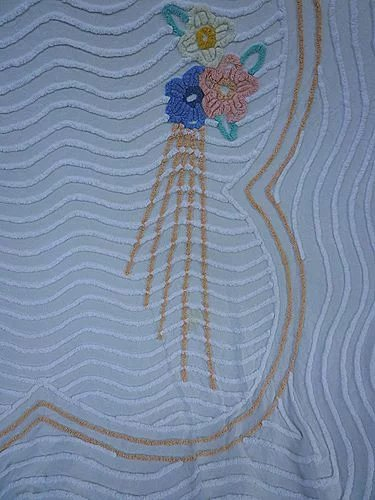 Peach Blue Yellow Flowers Deco Rays Vintage Chenille