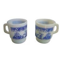 Set of 2 Fire King Blue Willow Milk Glass Mugs