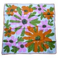 Vintage Vera Big Pink and Orange Flowers Print Scarf