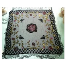 Fabulous Roses Butterflies Black Rayon Velvet and Silk Fringed Gypsy Piano Shawl Vintage