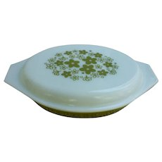 Pyrex Crazy Daisy Oval 1 Qt  Divided Casserole With Lid
