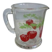 Red Tomatoes Green Leaves Juice Pitcher Anchor Hocking