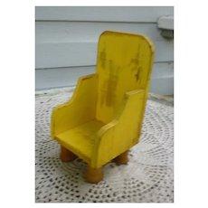Folk Art Handmade Yellow Wooden Chair with Spool Feet for Dolls