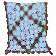 Huge White Red Green Hand Crochet Tablecloth