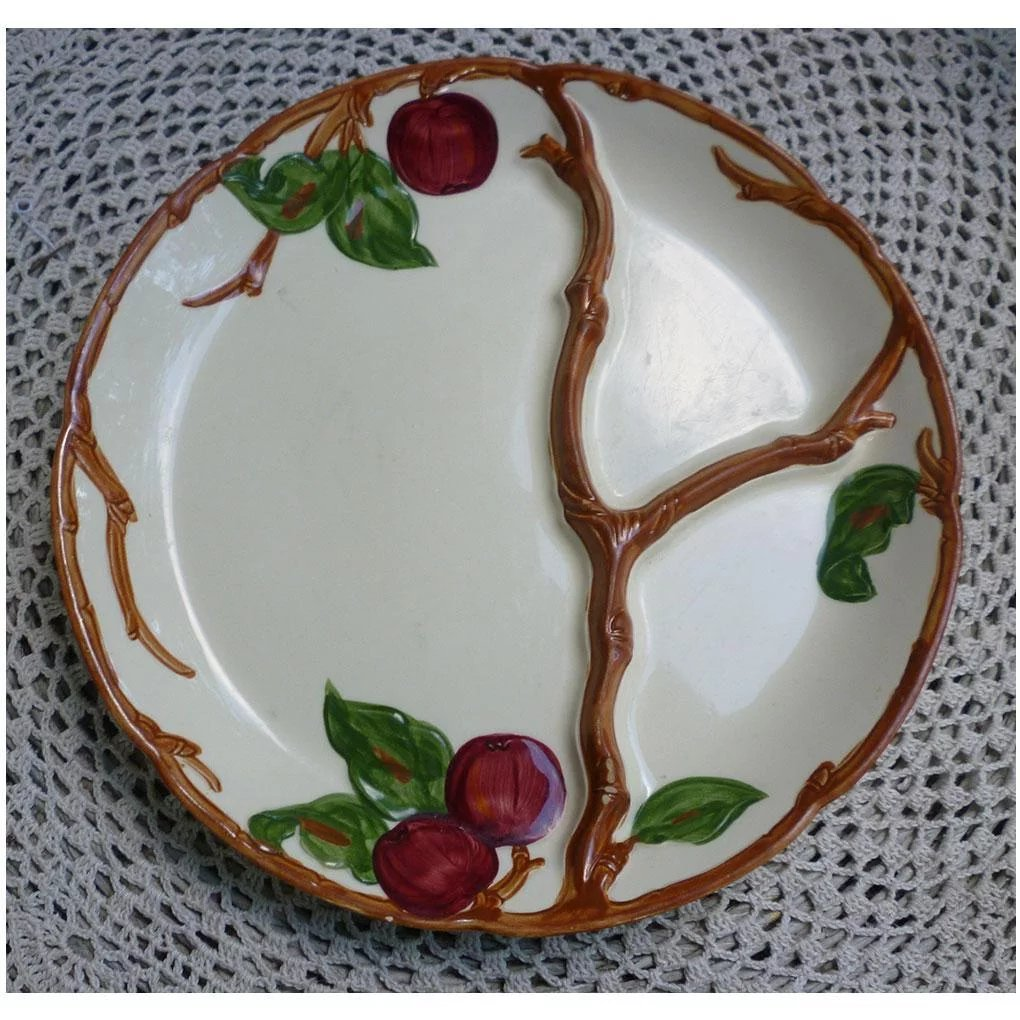 Vintage Franciscan Round Divided Red Apple Grill Compartment Plate : Chez  Marianne | Ruby Lane