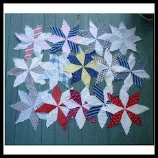 15 Eight Point Star Antique Patchwork Quilt Blocks