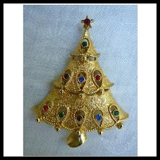 Vintage Jonette Jewelry Goldtone Rhinestones Christmas Tree Pin Brooch