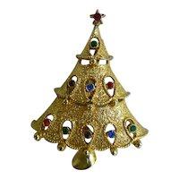 Vintage Jonette Jewelry Goldtone Rhinestones Christmas Tree Pin Brooch