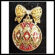Red Enamel Rhinestones Vintage Liz Claiborne Christmas Ornament Brooch