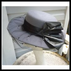 Vintage Whittall & Shon Designer Gray Felt Hat With Black Bow and Net
