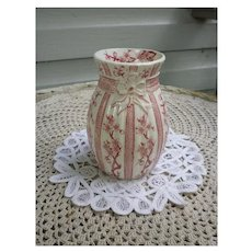 Antique 1885-1890 Ridgways Cherry Blossom Pink & White  TransferwareVase.