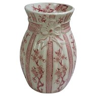Antique 1885-1890 Ridgways Cherry Blossom Pink & White  TransferwareVase.