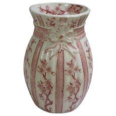 Antique 1885-1890 Ridgways Cherry Blossom Pink & White  Transferware Vase.