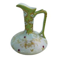 Elaborately Hand Painted and Gilded Porcelain Ewer Pitcher