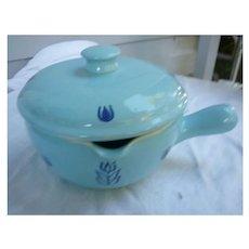 Cronin Blue Tulip Pottery Bake Ware Casserole Lid Handle Pour Spout Vintage 1930-1950