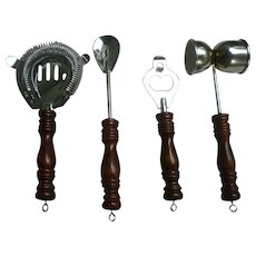 Shiny Stainless with Wooden Handles Home Bar Tools Utensil Set