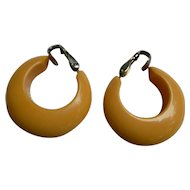 Butterscotch Bakelite Hoop Clip Earrings