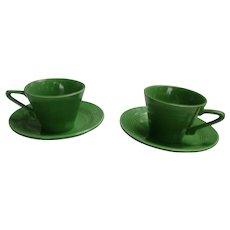 HTF Medium Green Harlequin Tea Cup and Saucer