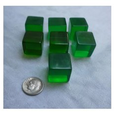 Translucent Green Large Lucite Cubes Set of 7