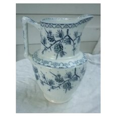 W.H. Grindley & Co Tunstall Oxford Blue Pine Cone Pattern Pitcher