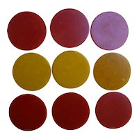 Butterscotch and Cherry Red Swirl Bakelite Poker Chips Set