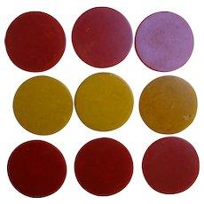 Butterscotch and Cherry Red Swirl Bakelite Poker Chips Set