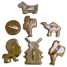 Collection of Seven Vintage Tab Handles Copper Cookie Cutters