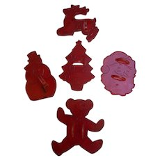 Vintage Red Plastic Christmas Cookie Cutters Set