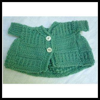 Green Hand Knit Wool Doll Sweater