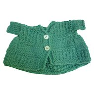 Green Hand Knit Wool Doll Sweater